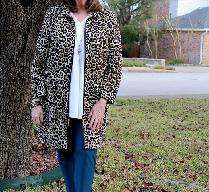 How to Style Jewel-Toned Blue Pants:  Look #1