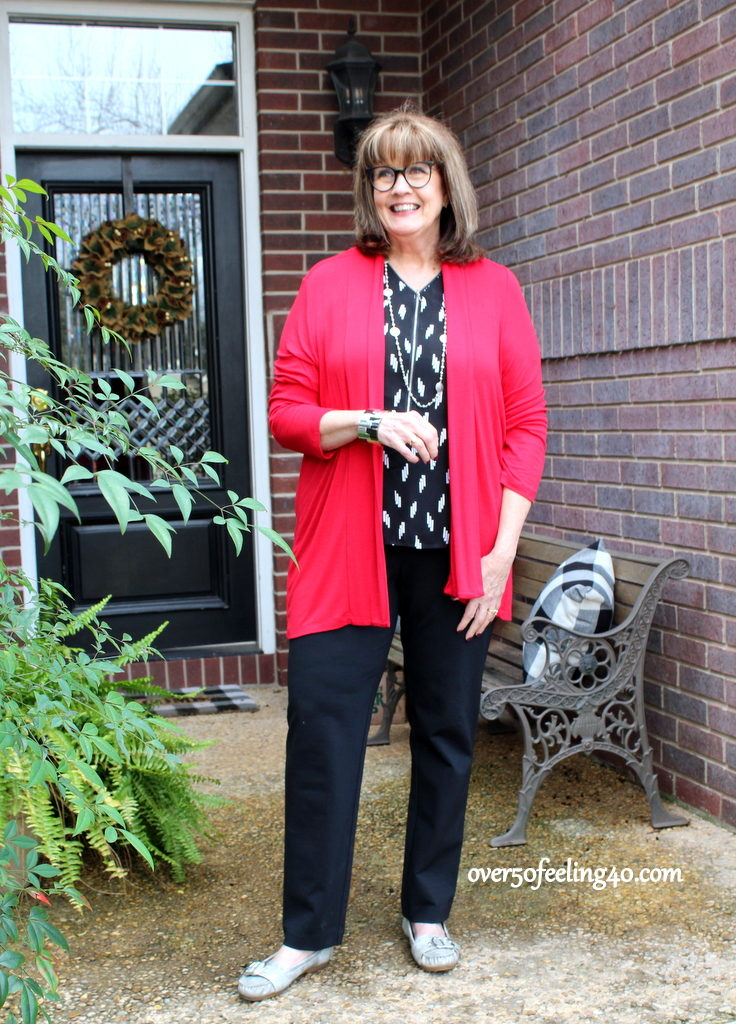 You Can Do So Much With A Red Cardigan Like This One I Got At Macys Last Year And Really It Black White Shell My Knit Pants