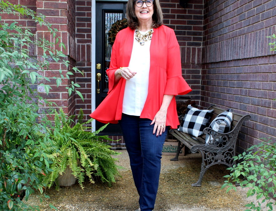 How I Wear Red with Denim and a Little Touch of Leopard