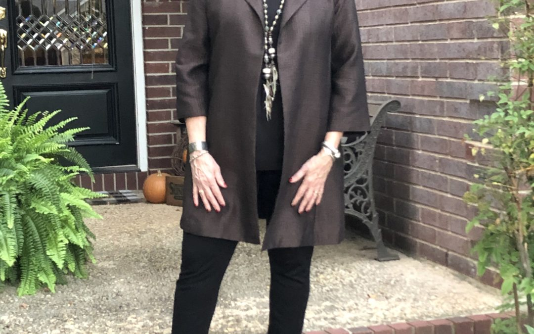 Style Tips for Wearing Black, Brown & Confidence:  Look #1