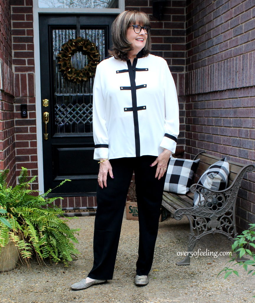 Pamela Lutrell wears Ming Wang blouse in 2019