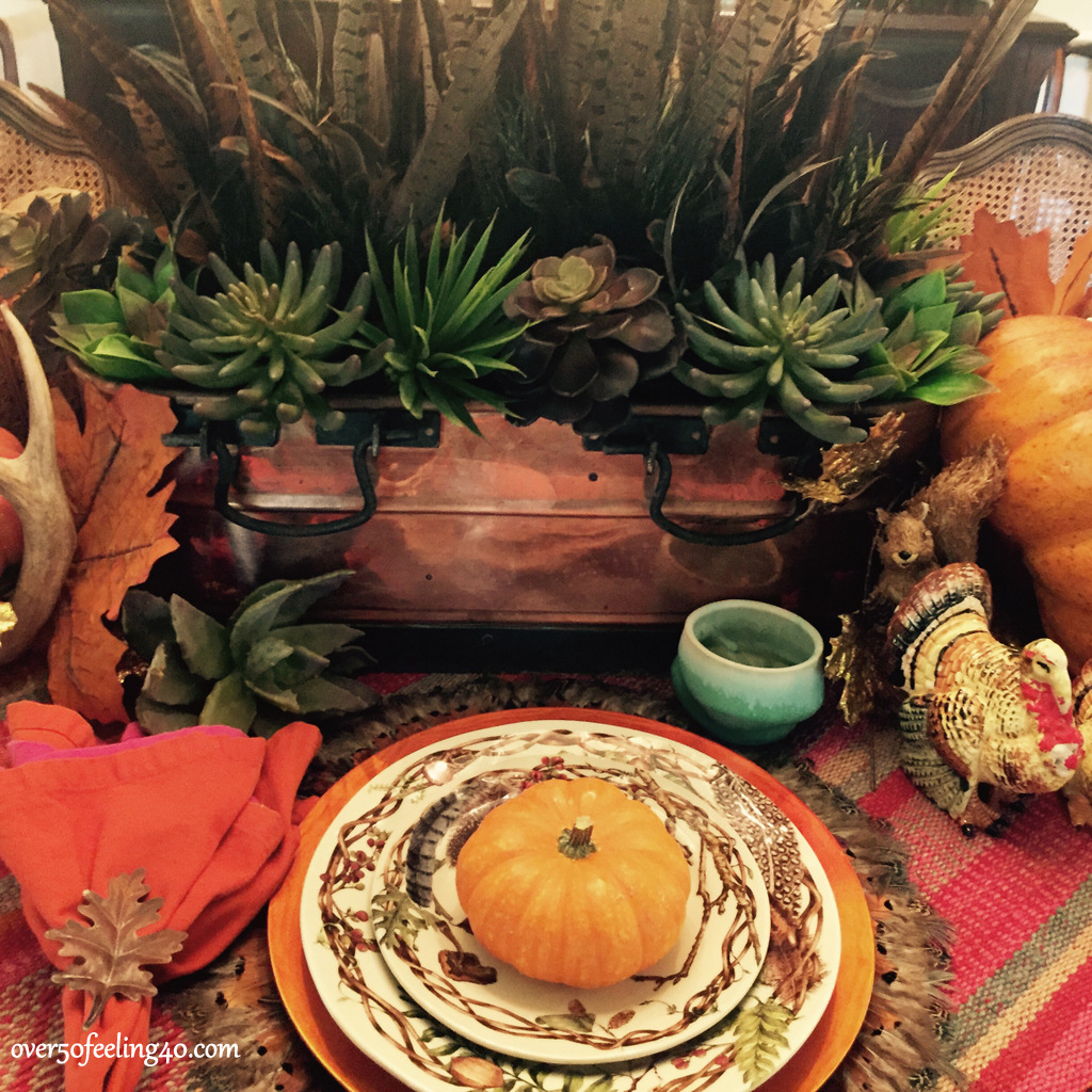Over 50 Feeling 40 Thanksgiving Dinner table with succulents