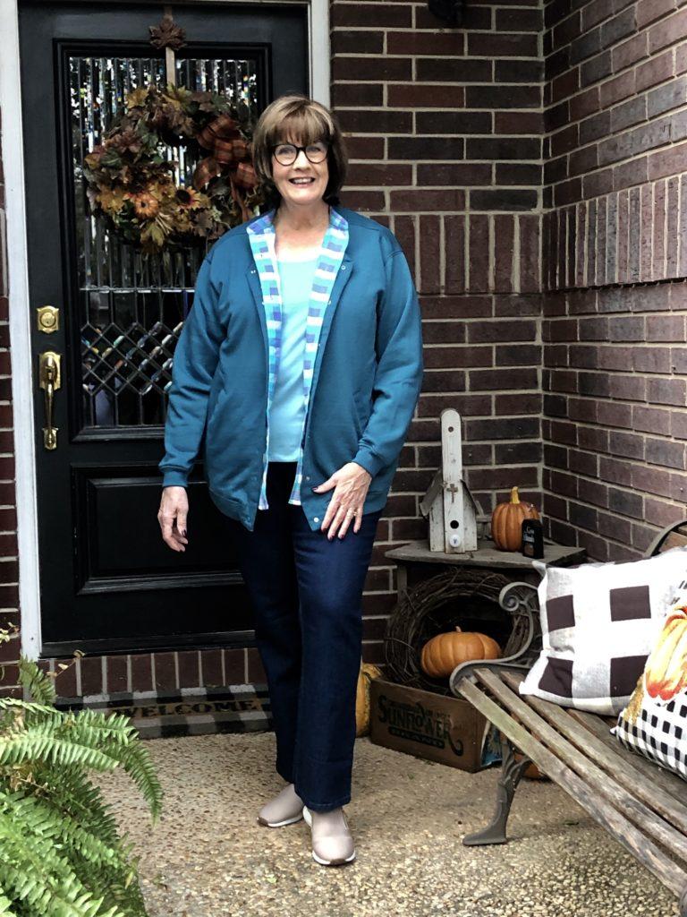 Pamela Lutrell wears blue fleece outfit from Blair