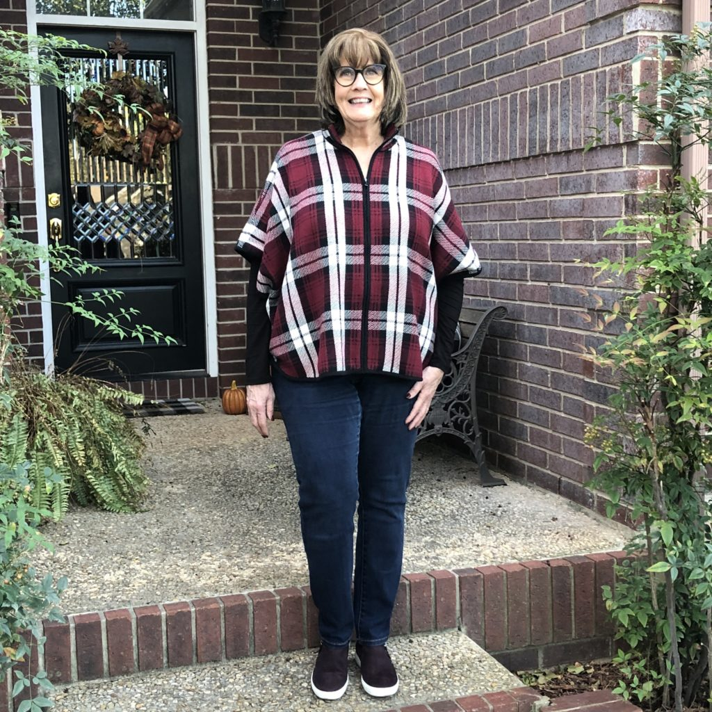 Pamela Lutrell wears fall plaid for casual Friday