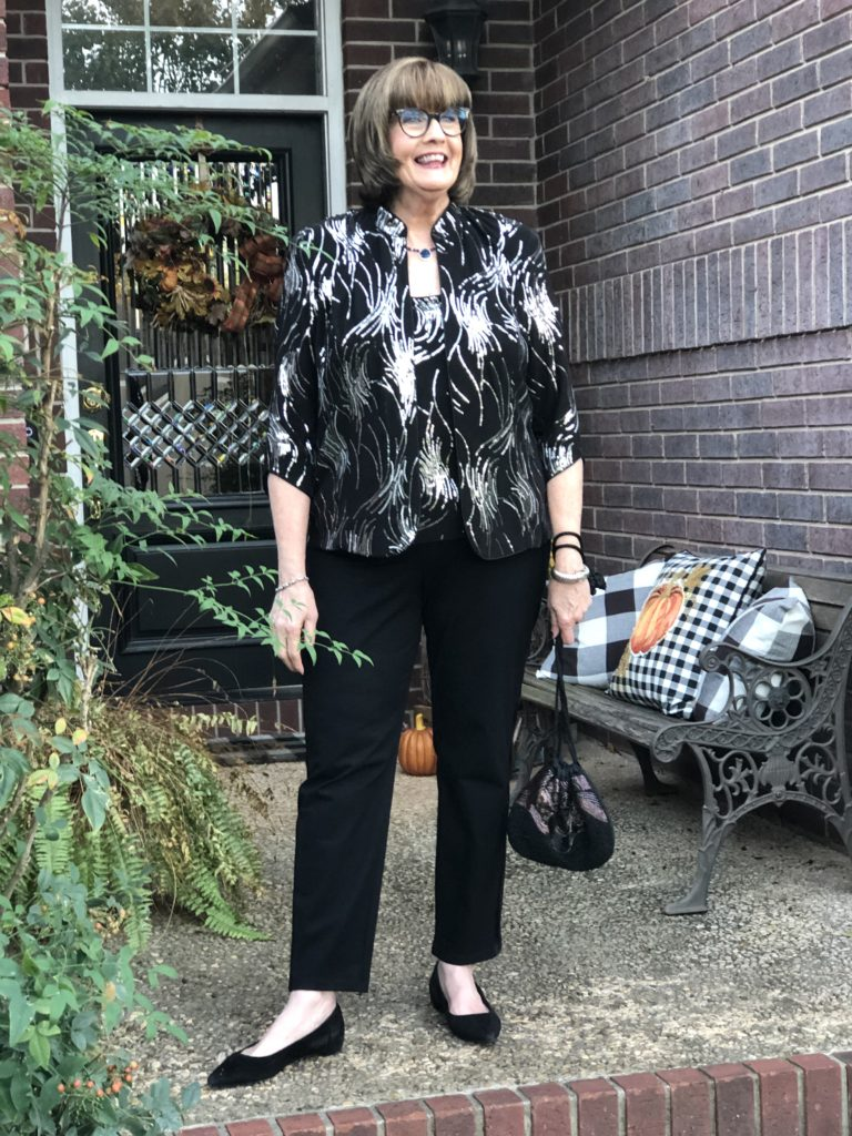 Over 50 Feeling 40 in tuxedo pants from Chico's