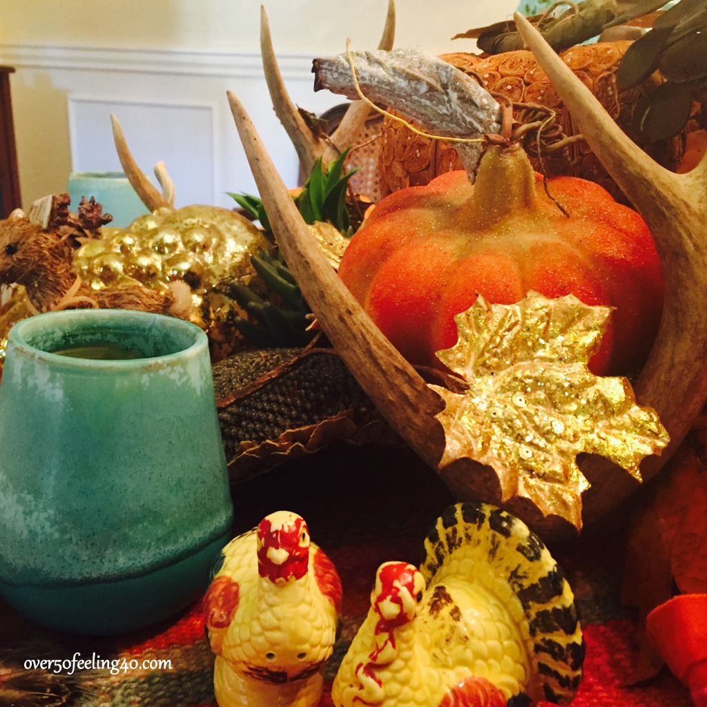 Over 50 Feeling 40 decorates the table for Thanksgiving