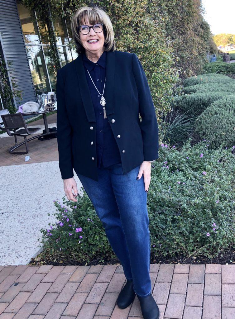Pamela Lutrell in Navy Blue Blazer