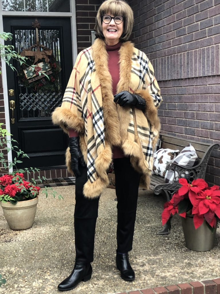 Pamela Lutrell in faux fur and faux leather
