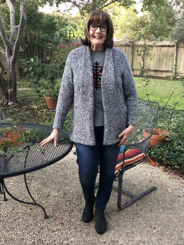 Pamela Lutrell in C & B snowflake tee