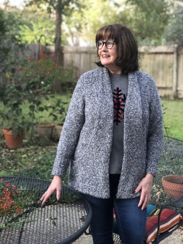 Pamela Lutrell in the C & B 2019 cardigan