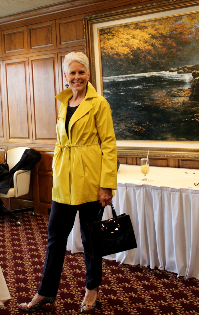 Pamela Lutrell likes the yellow rain jacket