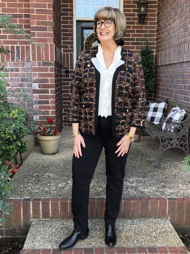 Pamela Lutrell wears classic cardigan