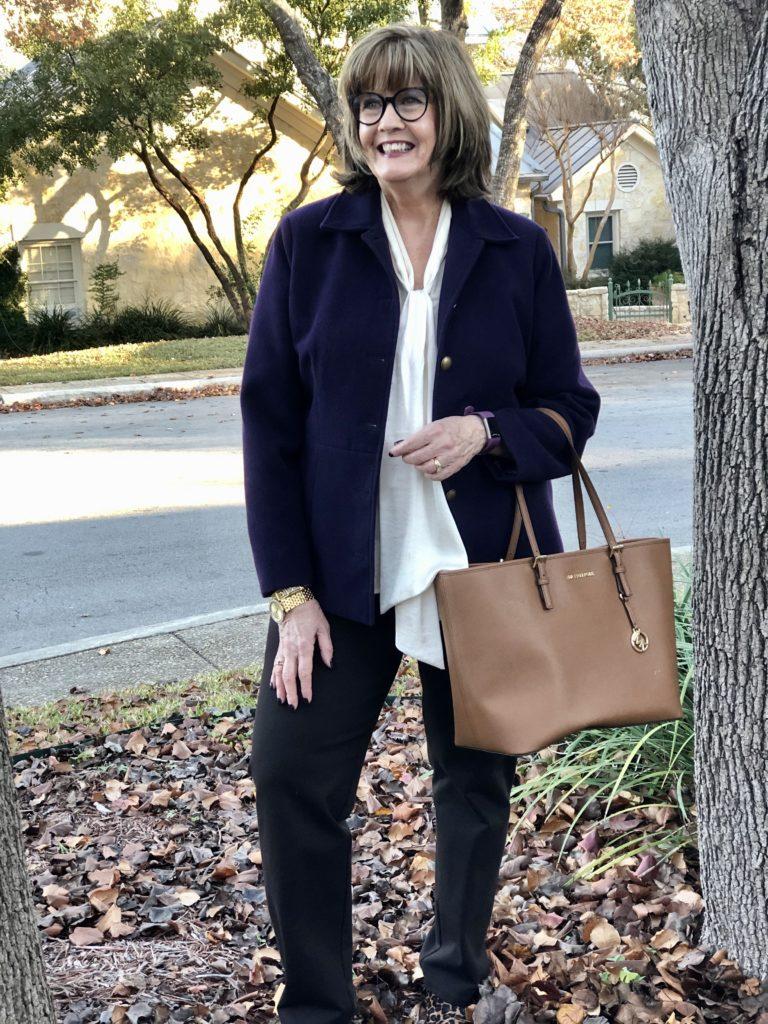 Pamela Lutrell wears a jacket from GoodwillSA