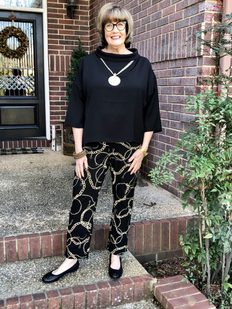 Pamela Lutrell in Chico's print pants