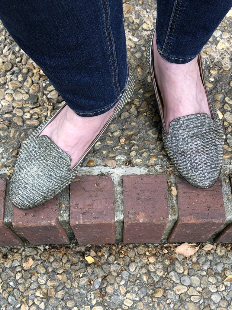 Pamela Lutrell wears shiny loafers