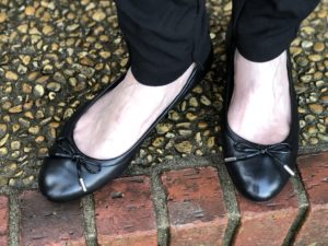 Pamela Lutrell in ballet flats for classic style