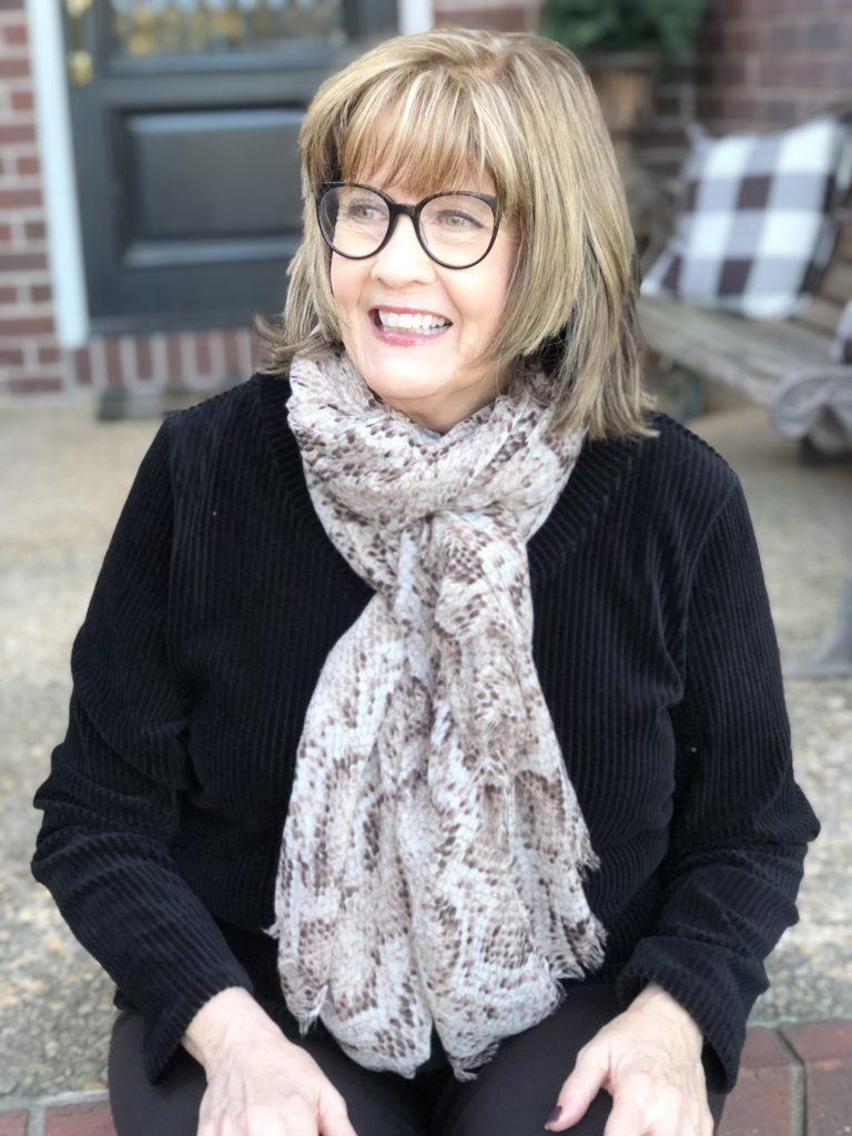 Pamela Lutrell in thrift scarf