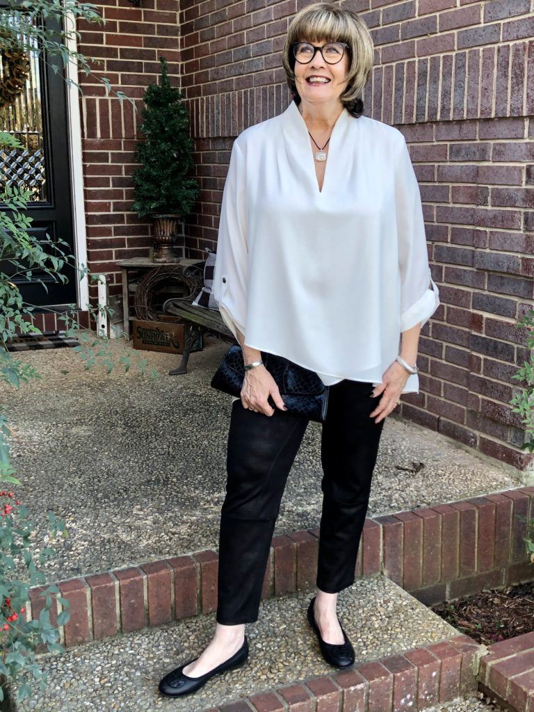Pamela Lutrell in Faux leather leggings from Soft Surroundings