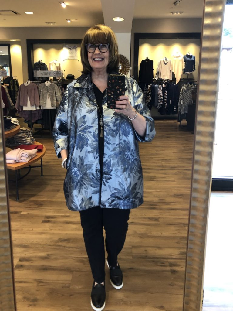 Pamela Lutrell in smaller blue jacket at Chicos