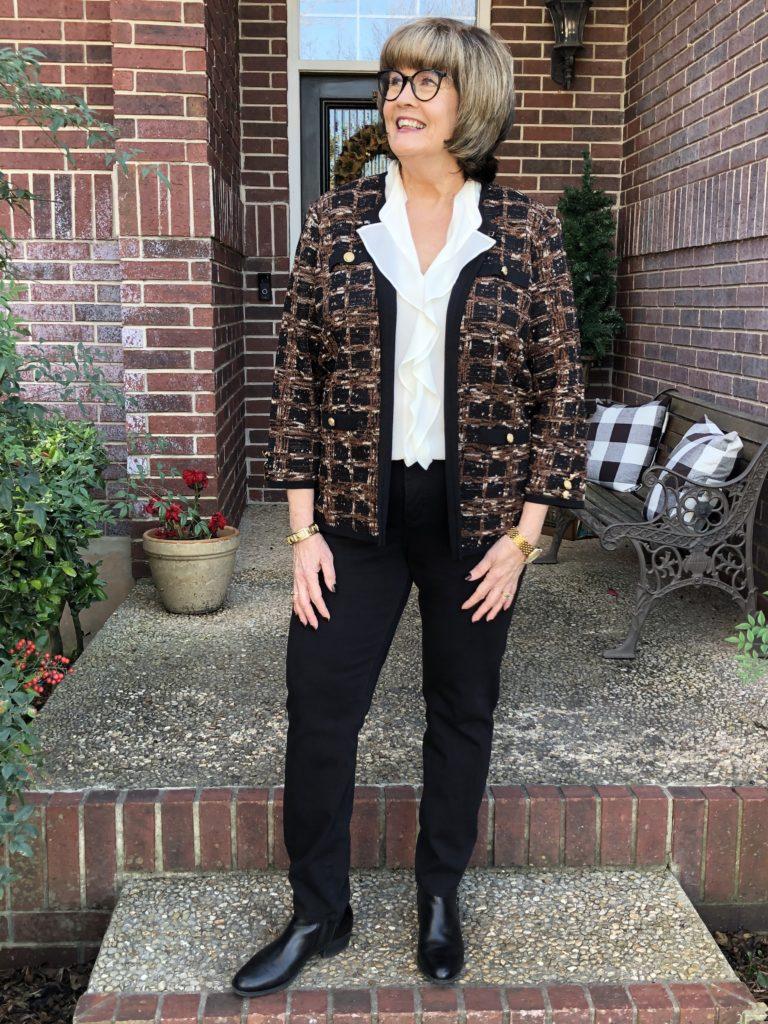 Pamela Lutrell wears the classics