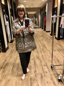Pamela Lutrell in Chico's Leopard Jacket on sale