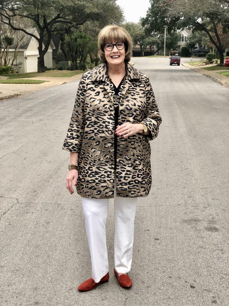 Pamela Lutrell wears Chicos Leopard Jacket