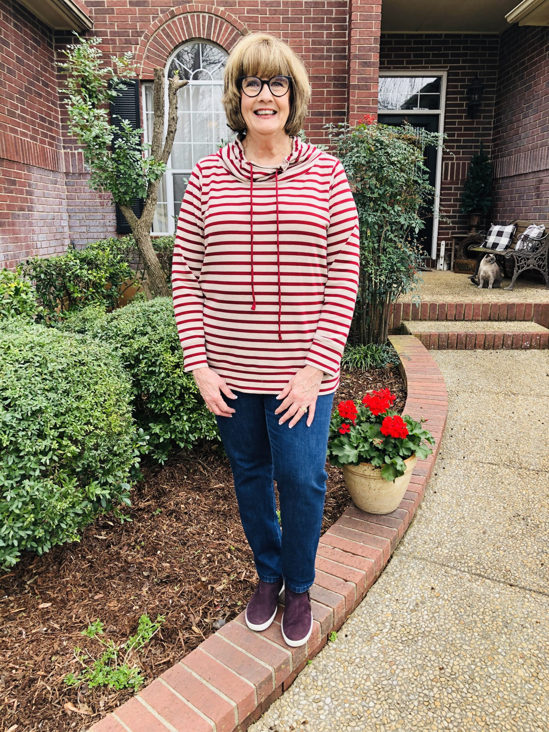 Pamela Lutrell in a horizontal stripe