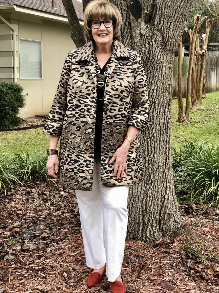 Pamela Lutrell in a Chicos outfit for speaking to a group