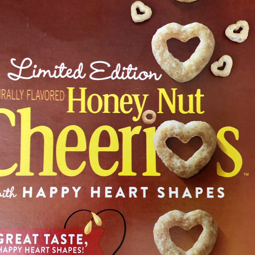 Pamela Lutrell with heart shaped cereal