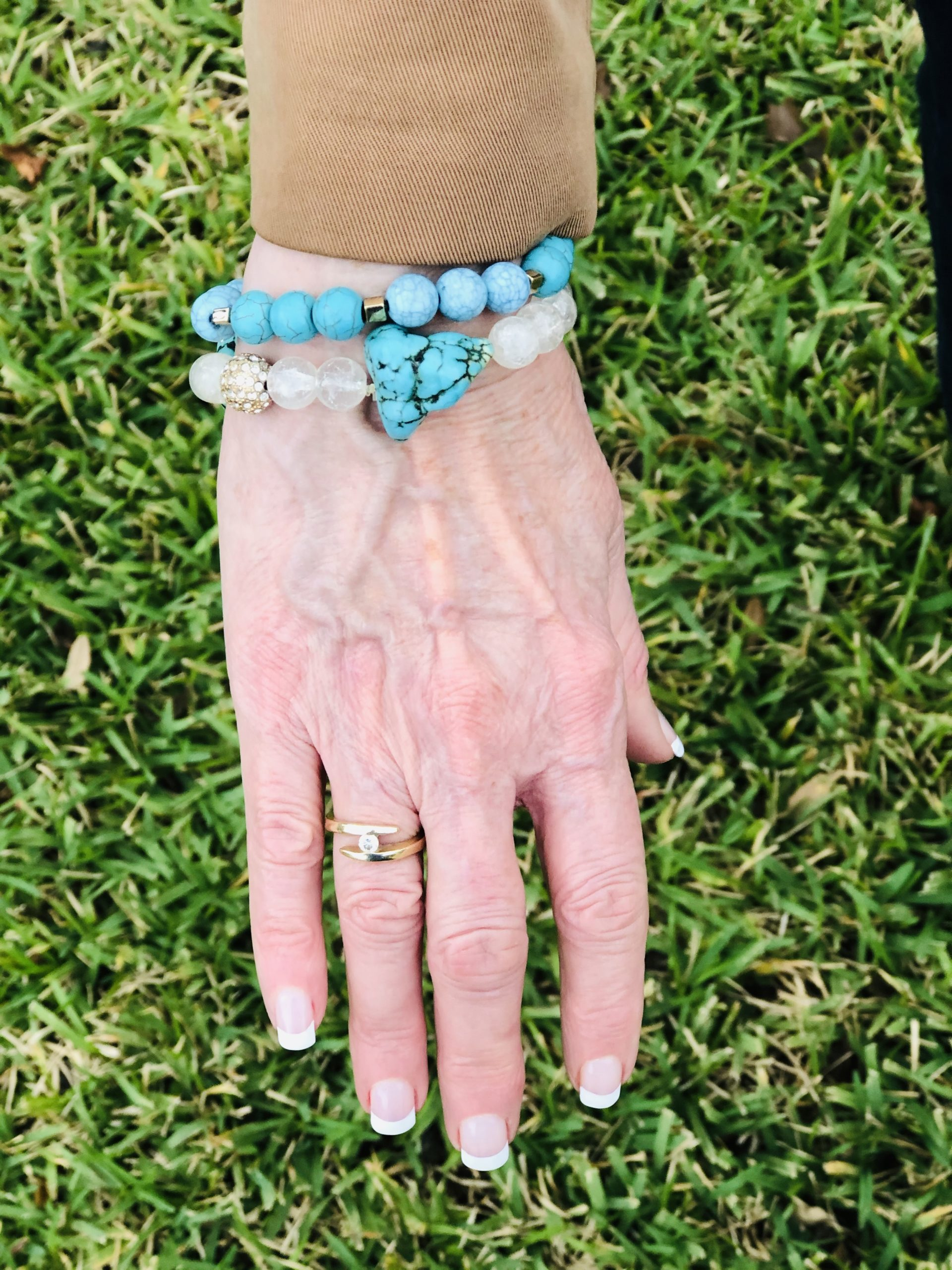 Over 50 Feeling 40 in blue bracelets for spring