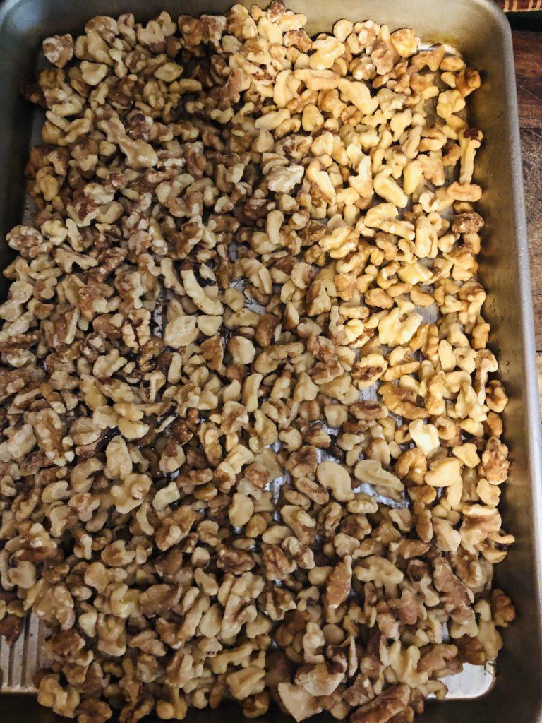 Pamela Lutrell shows roasted walnuts