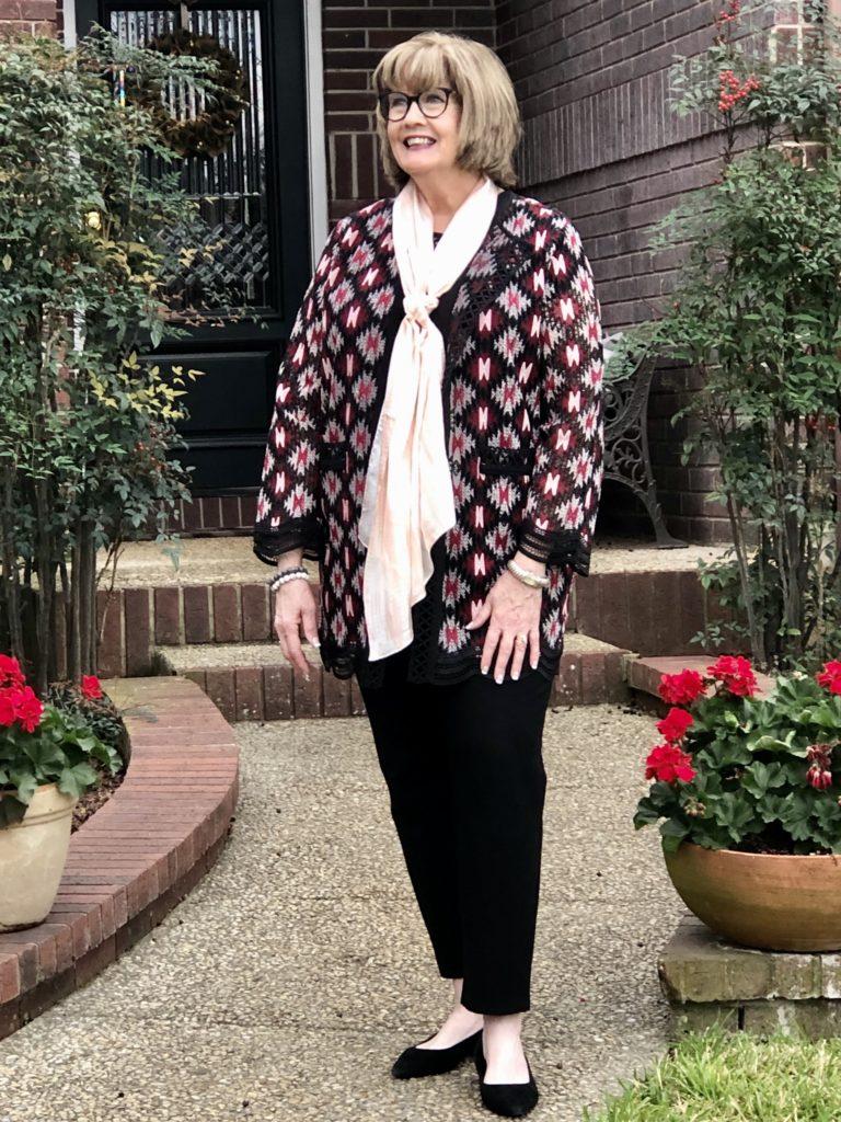 Pamela Lutrell in ZOZO jacket from Dillards