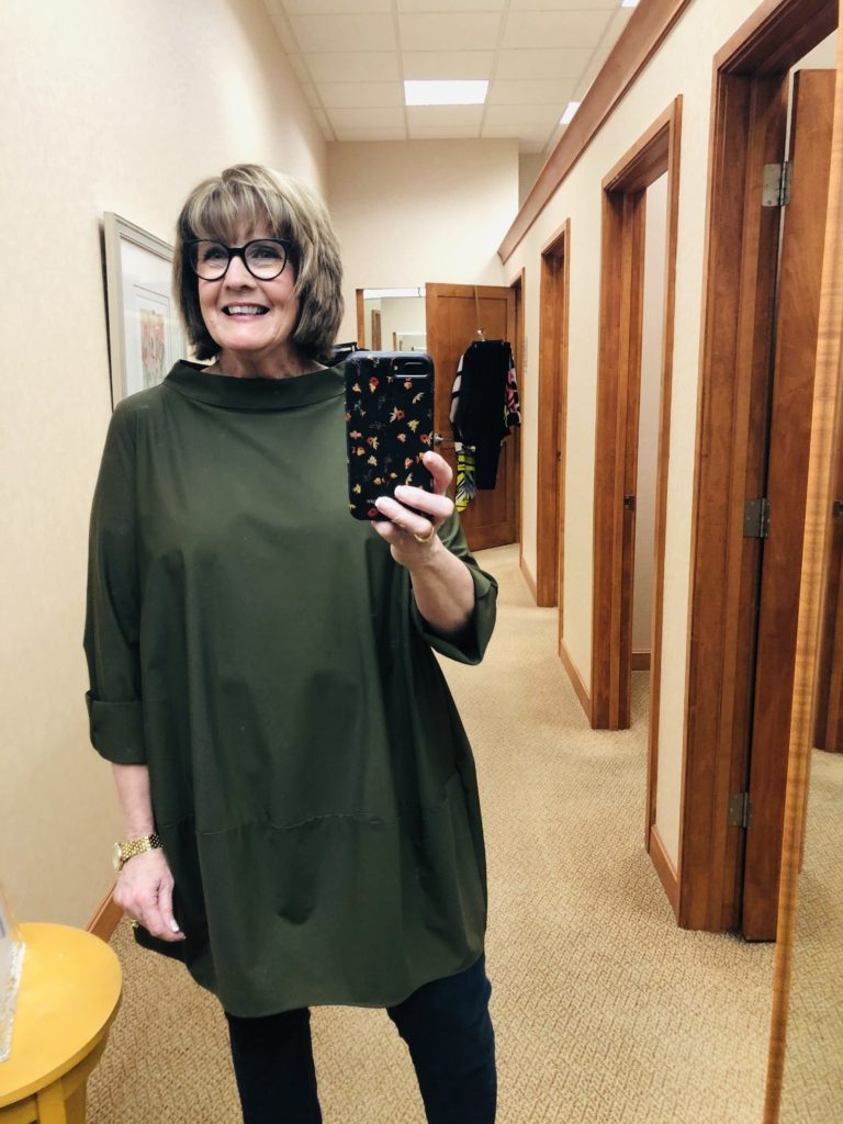 Pamela Lutrell in Olive green tunic by IC Collection