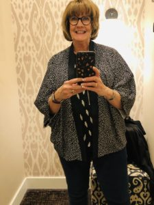 Pamela Lutrell in Chicos short kimono