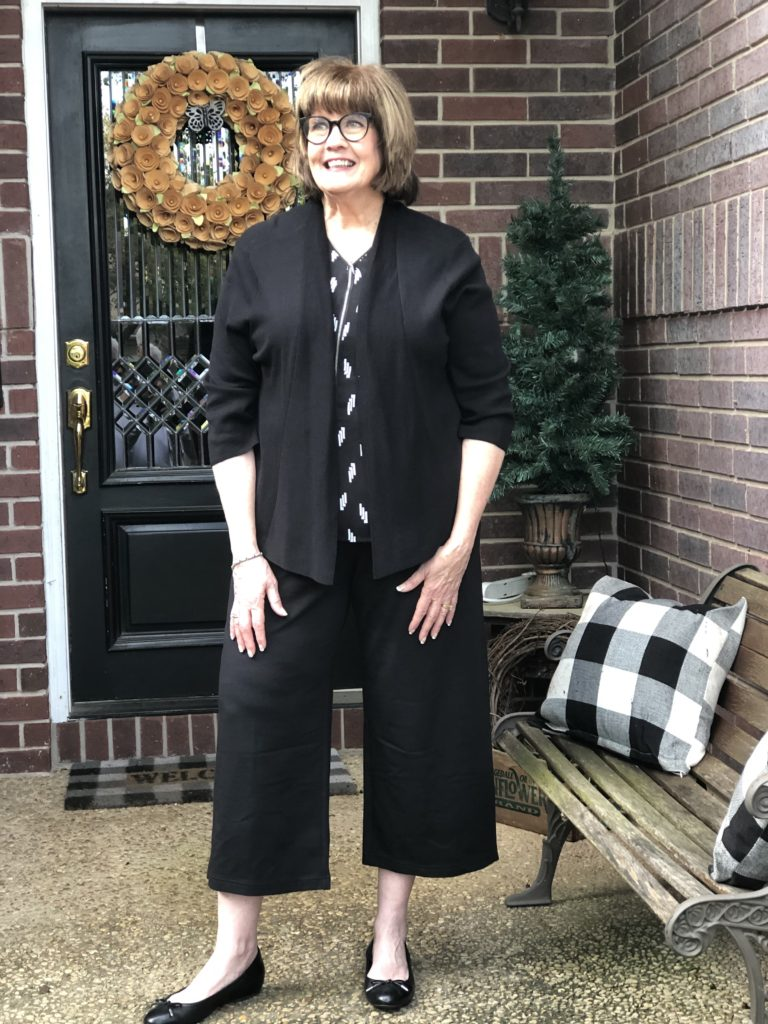 Pamela Lutrell in JJill wideleg pants on Over 50 Feeling 40