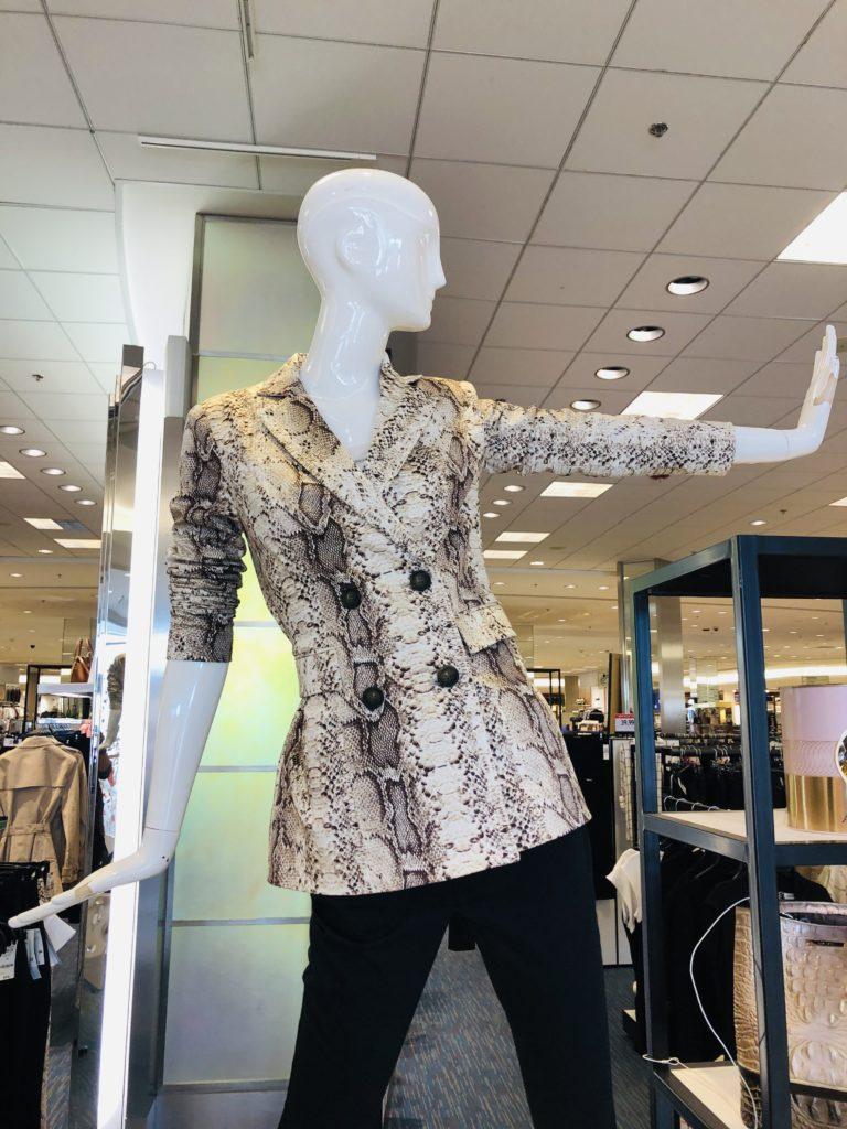 Pamela Lutrell and snake print jacket at Macy's