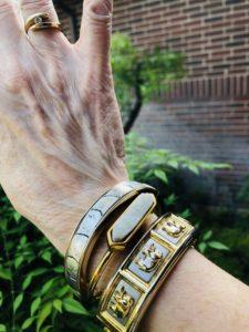 Pamela Lutrell styles with mixed metal bracelets