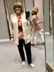 Over 50 Feeling 40 in red top from JJill