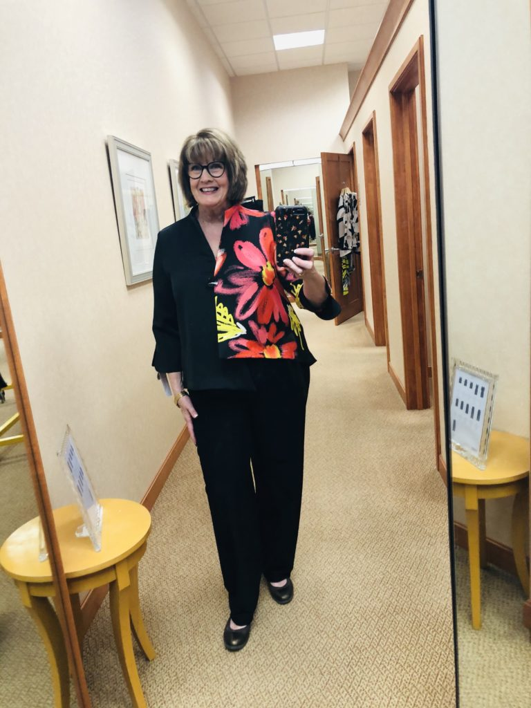 Pamela Lutrell at Dillards in IC Collection jacket