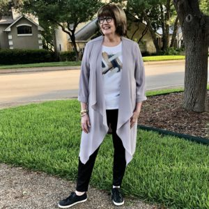 Over 50 Feeling 40 discusses personal style in Chicos tee