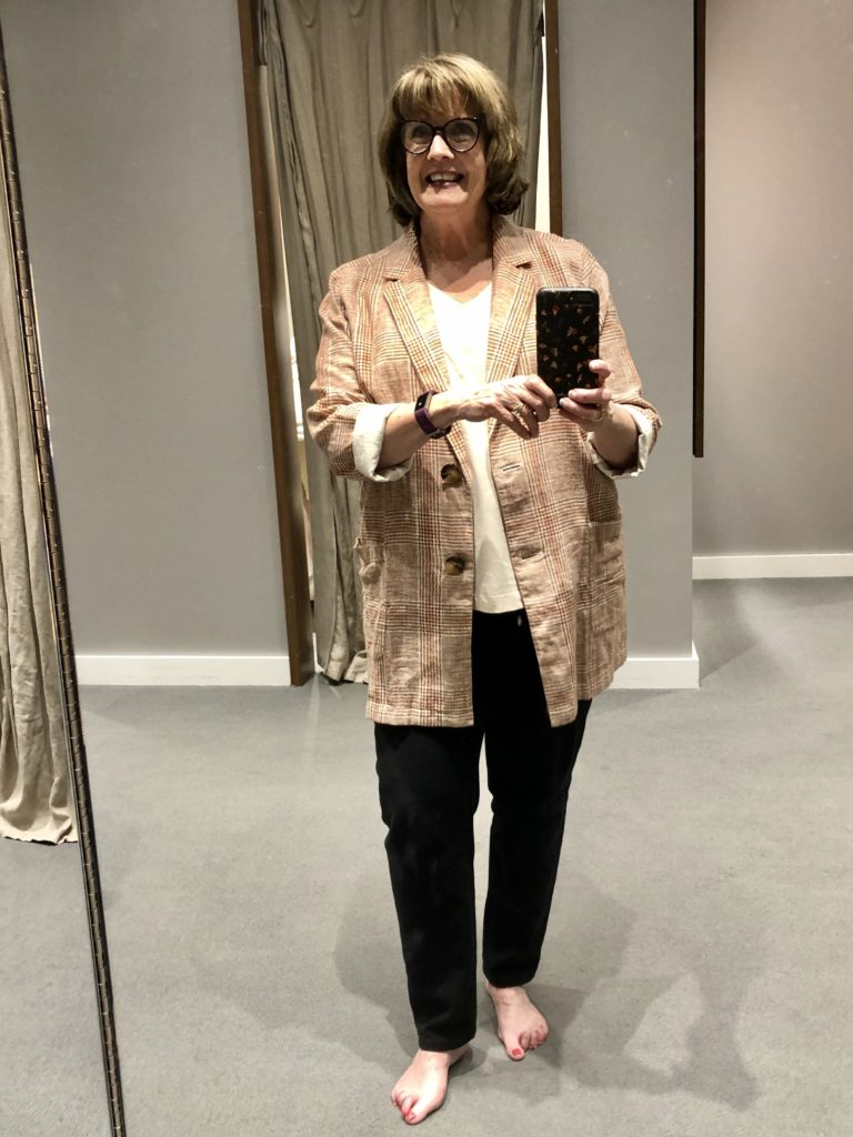 Over 50 Feeling 40 in JJill Plaid Jacket