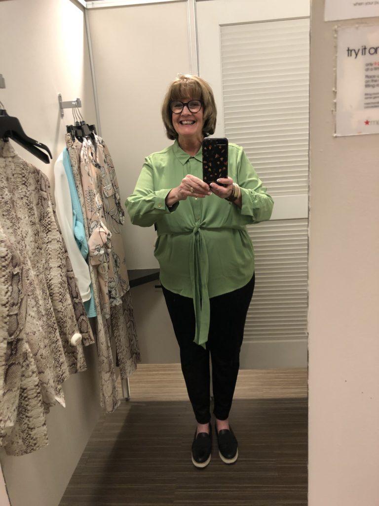 Pam Lutrell wearing green at Macys