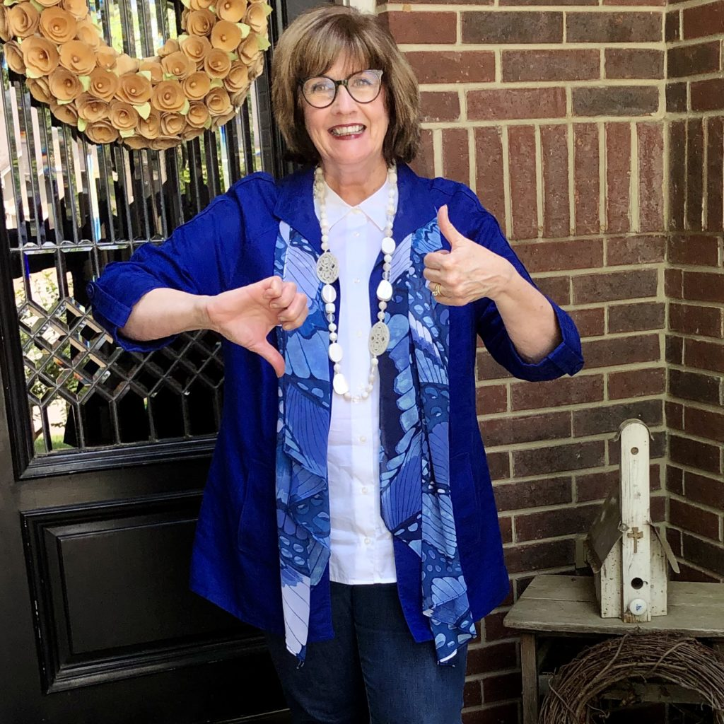 Pamela Lutrell wears the color of the year for 2020 for work from home style