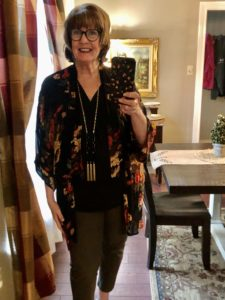 Pamela Lutrell in a Work at Home kimono style