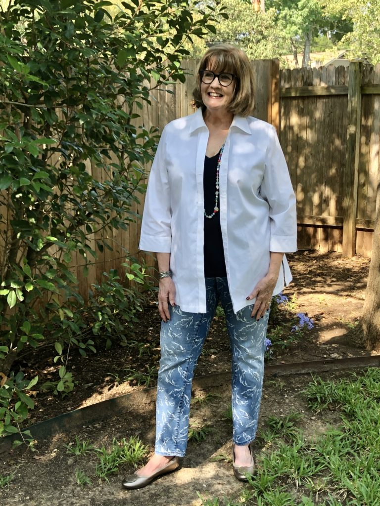 How to style a white topper on over 50 feeling 40