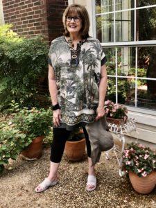 Safari Karen Kane tunic on over 50 feeling 40