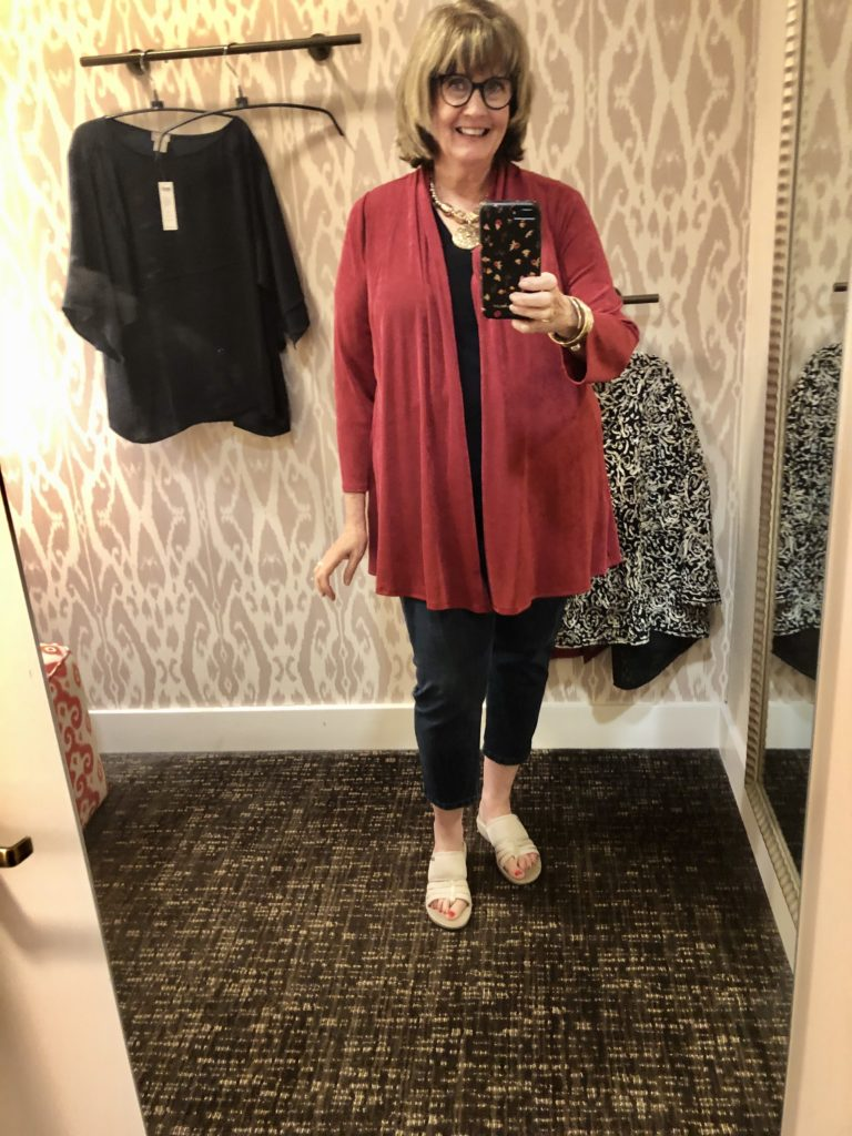 Deep Cherry Travelers Cardigan on over 50 Feeling 40