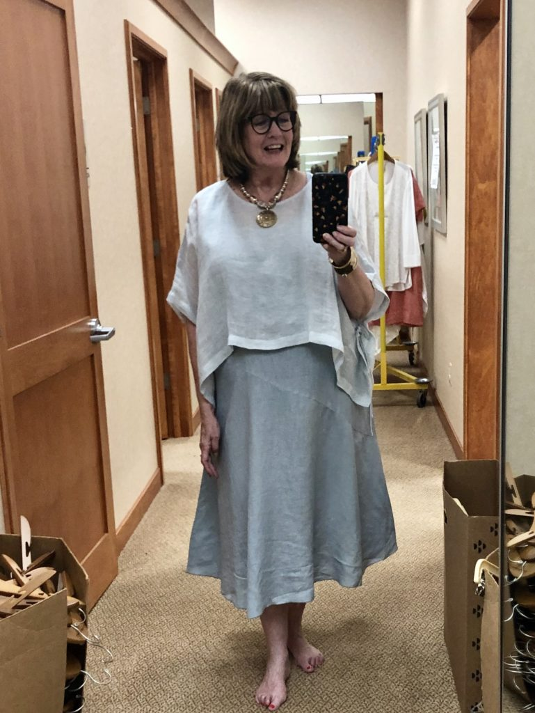 Organic Linen Eileen Fisher Dress at Dillards on Over 50 Feeling 40