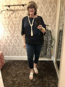 Chicos Navy Blouse on Over 50 Feeling 40
