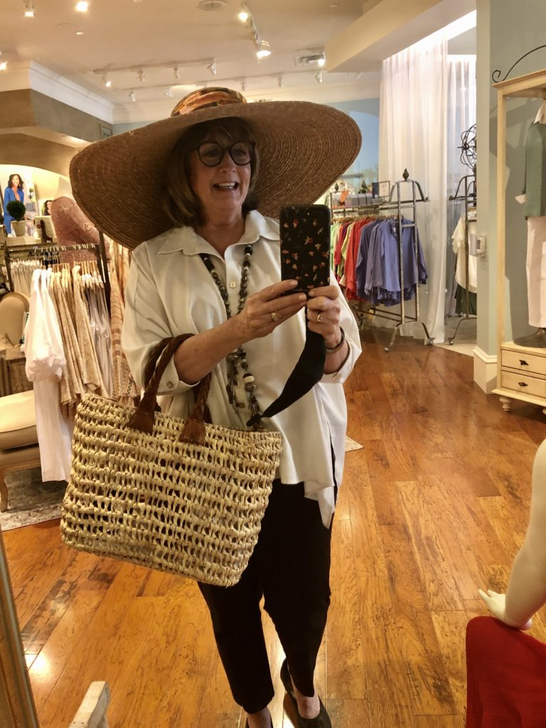 Pamela Lutrell in a new Soft Surroundings hat on Over 50 Feeling 40